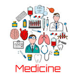 General medicine and healthcare sketches Royalty Free Stock Photo