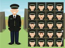 General militar Soldier Cartoon Emotion hace frente al ejemplo del vector Fotografía de archivo libre de regalías
