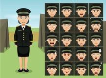 General militar Soldier Woman Cartoon Emotion hace frente al ejemplo del vector Imagen de archivo