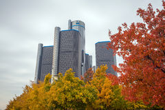 The General Motors Renaissance Center in Detroit Michigan Stock Photos