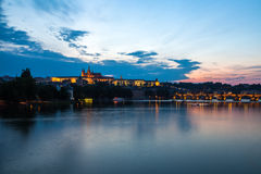 General night view of Charles Bridge and Castle District in Prag Royalty Free Stock Photography