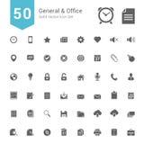 General- och kontorssymbolsuppsättning 50 fasta vektorsymboler Arkivfoto