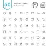 General- och kontorssymbolsuppsättning 50 linje vektorsymboler vektor illustrationer