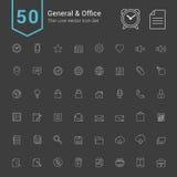General- och kontorssymbolsuppsättning 50 tunn linje vektorsymboler royaltyfri illustrationer