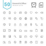 General and Office Icon Set. 50 Line Vector Icons. Royalty Free Stock Image
