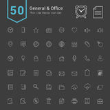 General and Office Icon Set. 50 Thin Line Vector Icons. General and Office Icon Set. 50 Thin Line Vector Icons illustration royalty free illustration