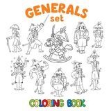 General or officers coloring book set Stock Images