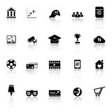 General online icons with reflect on white background Stock Photo