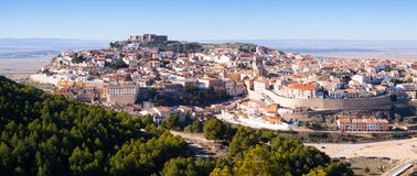 General panorama of Chinchilla de Monte-Aragon. With castle at hill. Albacete, Spain royalty free stock photography