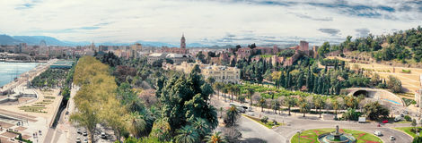 General panorama of Malaga historical buildings Royalty Free Stock Images