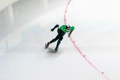 General plan man athlete skater on track sprint races Royalty Free Stock Photo