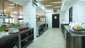 General plan, modern canteen, cafeteria, Self service restaurant , empty, bright, spacious mess hall, Food Buffet. Resturant with showcases, working kitchen stock video