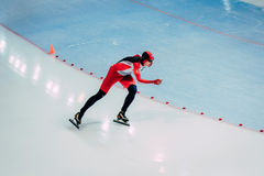 General plan young athlete skater during race sprint distance Royalty Free Stock Photo