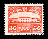 General Post Office Building, Views serie, circa 1953. MOSCOW, RUSSIA - FEBRUARY 10, 2019: A stamp printed in Indonesia shows General Post Office Building, Views royalty free stock images