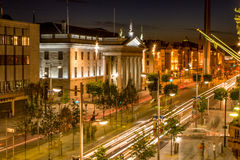 General Post Office in Dublin on O`Connell Street. Ireland by night Royalty Free Stock Photography