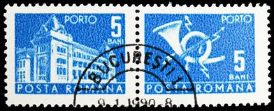 General Post Office and Post Horn, Post and Telecommunications II serie, circa 1967 stock images