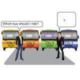 General - preguntas del pasajero del autobús stock de ilustración
