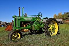 General Purpose John Deere tractor. DETROIT LAKES, MINNESOTA, September 26, 2017: The restored tractor is a General Purpose John Deere produced by the John Deere stock photos