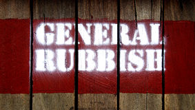 GENERAL RUBBISH sign stamp on wood Royalty Free Stock Photos