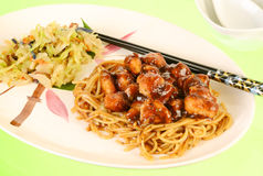 General's Chicken on Noodles Royalty Free Stock Photo