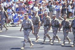 General Schwarzkopf and Soldiers Marching in Parade, Washington, D.C. Stock Photo