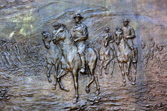 General Sherman Civil War Memorial Washington DC. General William Tecumseh Sherman Bronze Bas Relief Marching Through Georgia Civil War Memorial Pennsylvania Stock Photography