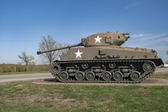 FORT LEONARD WOOD, MO-APRIL 29, 2018: General Sherman Medium Tank M4A3E8. General Sherman Medium Tank M4A3E8. An outdoor military vehicle complex featuring Stock Photo