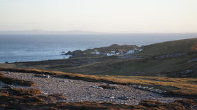 General shot of Star Wars Movie Set construction in Malin Head. Co. Donegal, Ireland during May 2016 stock images