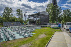 General singalong at the border, grandstand seats. TV 2 Norway produces a popular program at Fredriksten fortress in Halden called for General singalong at the Royalty Free Stock Photography