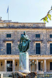 General Sir Frederick Adam`s statue. In front of the Museum of Asian Art, Corfu Town, Greece stock images
