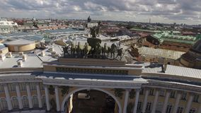 General Staff building aerial approach to statue. Palace square st.Petersburg. Best of Russia.  Unique drone footage. 4K video stock video footage