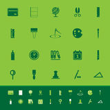 General stationary color icons on green background Stock Images