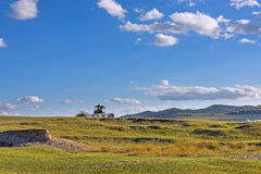 The general statue in WulanBu all grassland ancient battlefield stock photography
