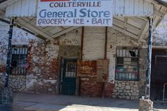 General Store in Coulterville California. Coulterville is a census-designated place in Mariposa County, California. It is located on Maxwell Creek 20 miles royalty free stock images