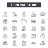 General store line icons, signs, vector set, outline illustration concept. General store line icons, signs, vector set, outline concept illustration royalty free illustration