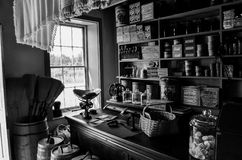 General Store. An old general store stocked with goods for sale in black and white Royalty Free Stock Images