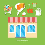 General store, shopping mall and fashion store. Flat design concepts of supermarket general store, shopping mall and fashion store vector illustration