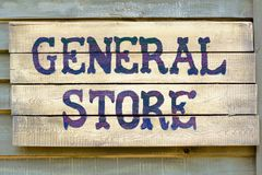 General store sign. A general store wood sign Stock Photos