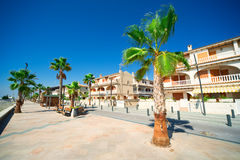 General street view in Costa Blanca. Alicante, Spain Royalty Free Stock Images