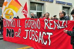 General strike caused by jobs act in Italy Stock Photography