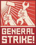 General strike poste. Hands holding hammer and wrench Stock Images