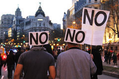 General Strike in Spain. People protesting during a general strike in Madrid in 2012 Royalty Free Stock Images