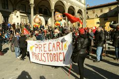 General strike on the 12th of December 2014 in Florence, Italy. Workers and unemployed strike today 12th of December 2014 against the government and the Prime Royalty Free Stock Image