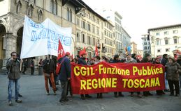 General strike on the 12th of December 2014 in Florence, Italy. Workers and unemployed strike today 12th of December 2014 against the government and the Prime Royalty Free Stock Photography