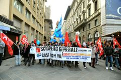 General strike on the 12th of December 2014 in Florence, Italy. Workers and unemployed strike today 12th of December 2014 against the government and the Prime Royalty Free Stock Photo