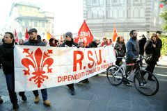 General strike on the 12th of December 2014 in Italy. Workers and unemployed strike today 12th of December 2014 against the government and the Prime Minister Royalty Free Stock Photo