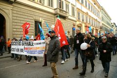 General strike on the 12th of December 2014 in Italy. Workers and unemployed strike today 12th of December 2014 against the government and the Prime Minister Royalty Free Stock Photos
