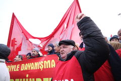 General Strike in Turkey. ISTANBUL,TURKEY-FEBRUARY 4: Because of new social security law of Turkish Goverment, all laborers left work for a day on February 4 Royalty Free Stock Images