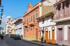 General Torres street Cuenca Eucador stock photography
