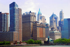 General urban view. Cityscape of New York City from river Royalty Free Stock Image